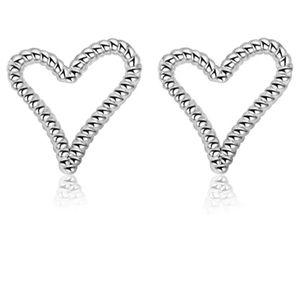 Sterling Silver Stud Textured Heart Earrings